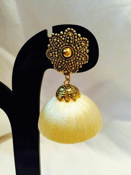 Golden Floral with Yellow Silk Thread Jhumka Set