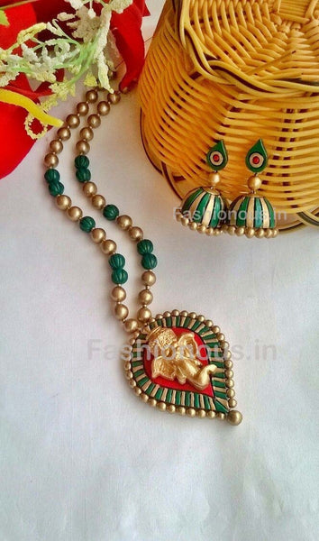 Golden Ganesh Leaf Shaped Terracotta Pendant Set-TJS-062