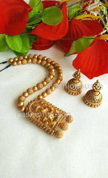 Golden Ganesh Rectangular Terracotta Pendant Set-TJS-060