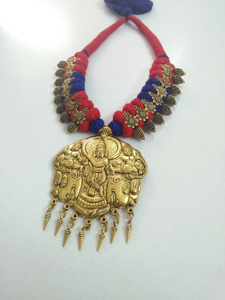 Golden Krishna Antique Pendant Oxidised Jewellery Set-OXDJ-012