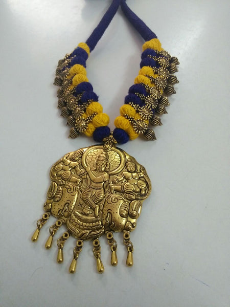 Golden Krishna Antique Pendant Oxidised Jewellery Set-OXDJ-014