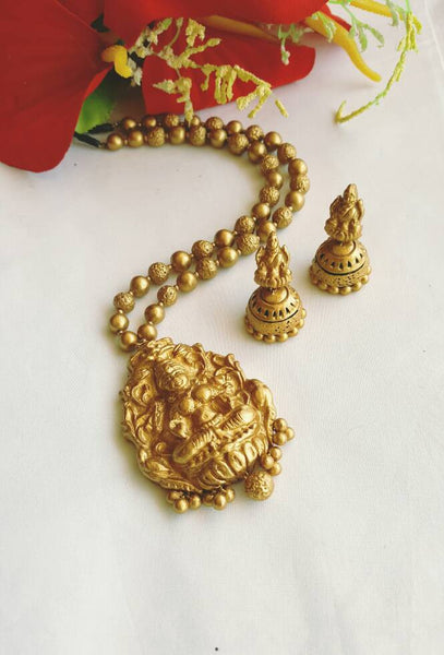 Golden Lakshmi Pendant Terracotta Jewellery Set