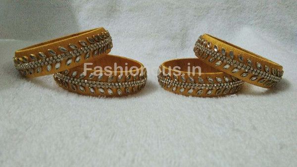 Golden Leaf Stone Worked Silk Thread Bangle Set-STJSW-020