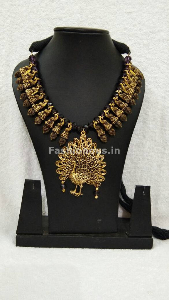 Traditional Oxidized Metal Necklace with Golden Peacock Pendant ...