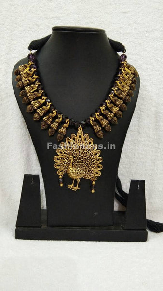Golden Peacock Antique Pendant with Black Crystal Oxidised Jewellery Set-OXDJ-005