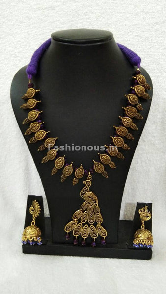 Golden Peacock Antique Pendant with Purple Crystal Oxidised Jewellery Set-OXDJ-004
