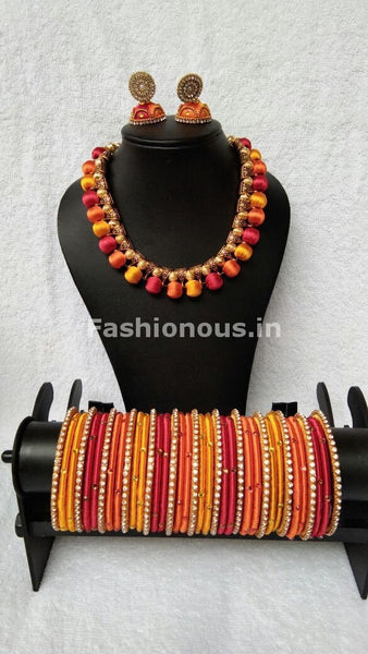 Golden Red and Orange Tricolor Silk Thread Jewellery Set-STJS-026