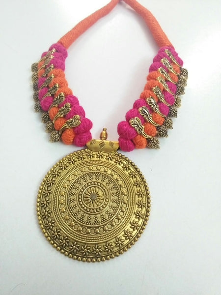 Golden Round Antique Pendant Oxidised Jewellery Set-OXDJ-013