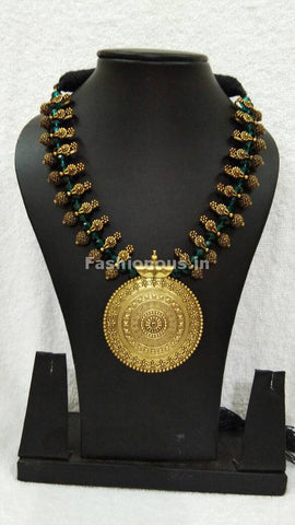 Golden Round Antique Pendant with Dark Green Crystal Oxidised Jewellery Set-OXDJ-003