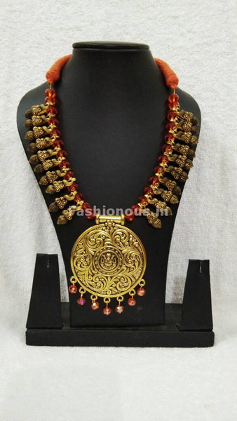 Golden Round Antique Pendant with Orange Crystal Oxidised Jewellery Set-OXDJ-001