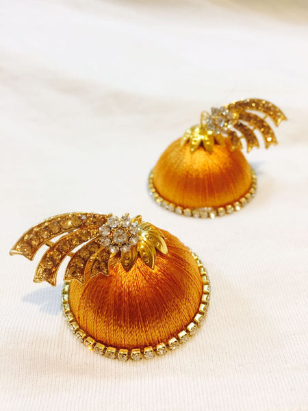 Golden Stone Silk Thread Earrings