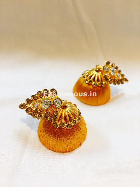 Golden Stone Studded Leaf Silk Thread Jhumkas-STJH-032