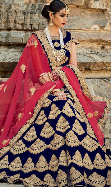 Golden Velvet Fine Embroidered Bridal Lehenga