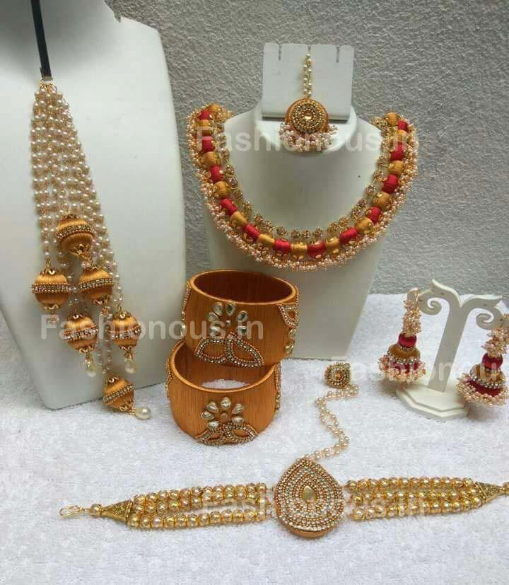 Golden Wedding Collection of Silk Thread Jewellery Set – Fashionous