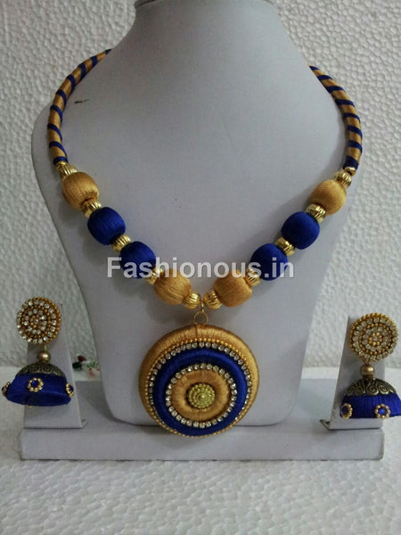 Golden and Dark Blue Silk Thread Jewellery Set