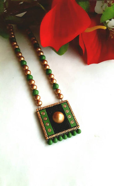Golden and Dark Green  Square Pendant Jewellery Set