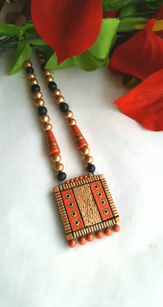 Golden and Orange Square Pendant Jewellery Set