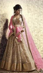Golden and Pink Embroidered Bridal Lehenga