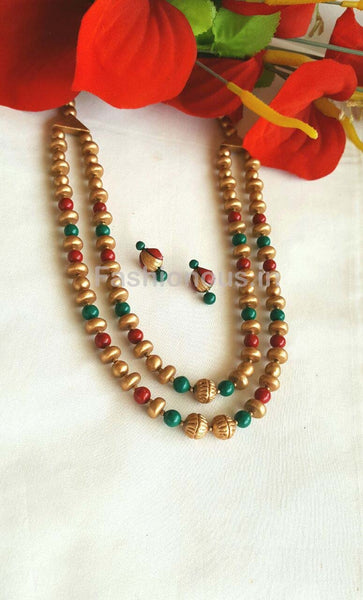Golden and Red Green Terracotta Jewellery Set-TJS-027