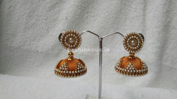 Golden and White Beaded Silk Thread Jhumkas-STJH-069