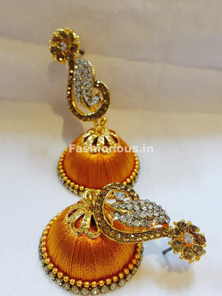Golden and White Stone Studded Peacock Neck Floral Silk Thread Jhumkas-STJH-045