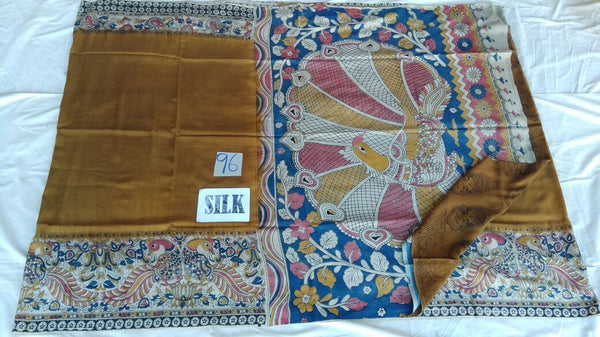 Golden with Patil Pallu Silk Kalamkari Saree-KALAMKARI-0071
