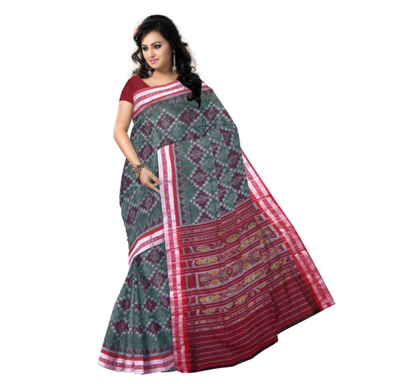 Gray Alpana Designed Handloom Cotton Saree-OSS9008
