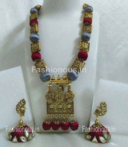 Gray and Maroon Silk Balls with Antique Pendant Silk Thread Jewellery Set