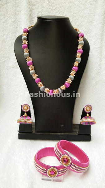 Gray  and Pink Silk Thread Jewellery Set-STJS-022