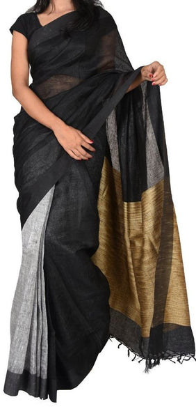 Gray with Black and Beige Pallu Linen Saree-LNSRE-029