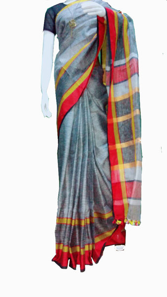 Gray with Red and Yellow Checked Pallu Linen Saree