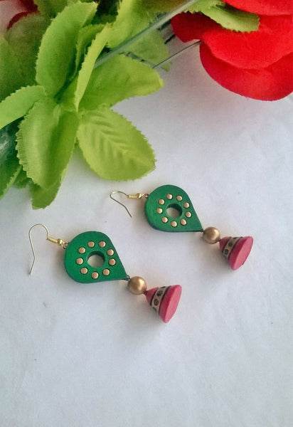 Green Balloon Terracotta Earrings