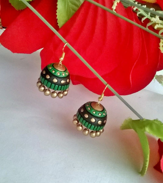 Green & Black Terracotta Jhumka