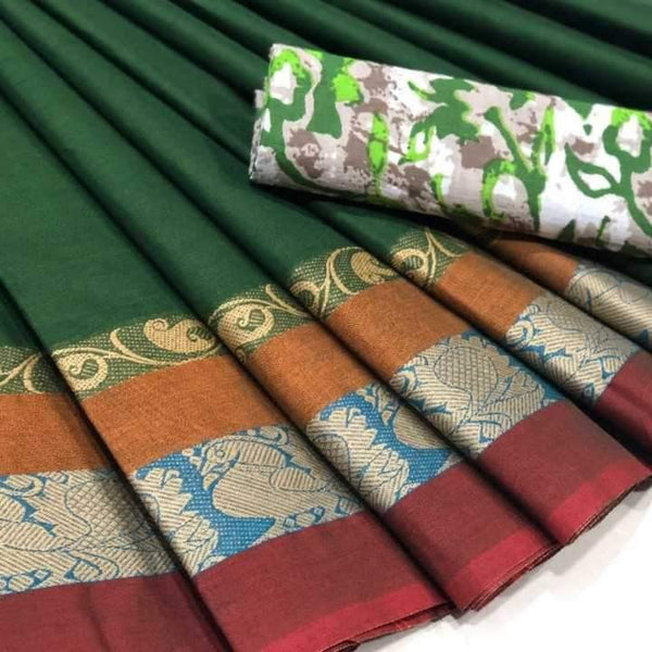 Green Chettinad Saree With Floral Border -CS608