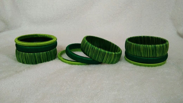 Green Dual Color Fancy Wear Silk Thread Bangles-STBS-005