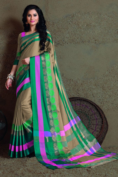 Green Fancy Cotton Saree-SRE-401
