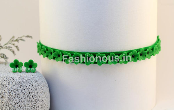 Green Floral Choker and Studs-ZAPCNS-021