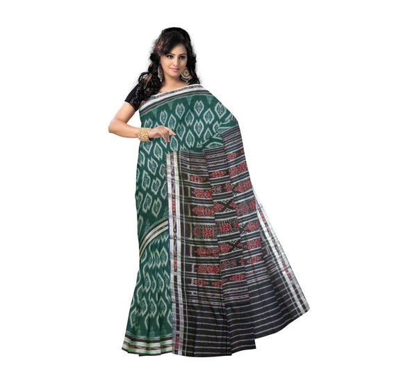 Green Floral Designed with Black Pallu Handwoven Cotton Saree-OSS9076