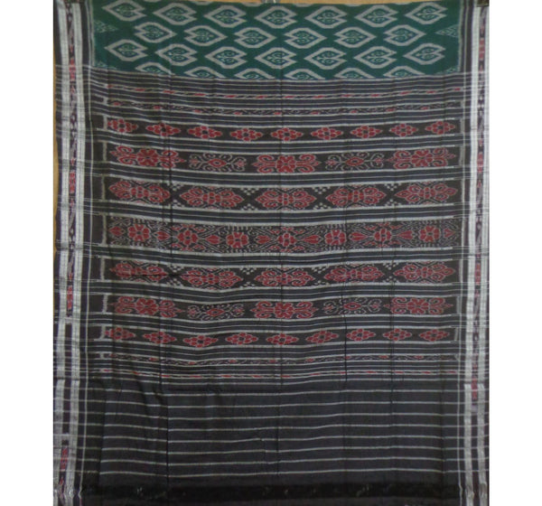 Green Floral Designed with Black Pallu Handwoven Cotton Saree