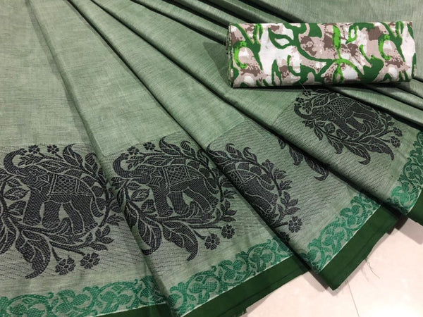 Green Cotton Saree with Elephant Motif