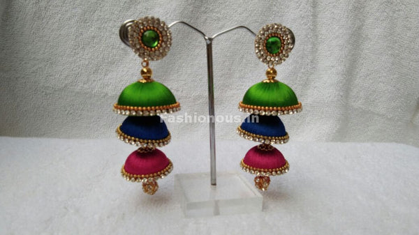Green Ink Blue and Pink Tricolored Silk Thread Jhumkas-STJH-073