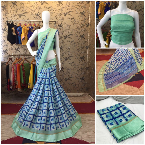 Green Linen Silk with Satin Border Designer Saree-SRE-1018