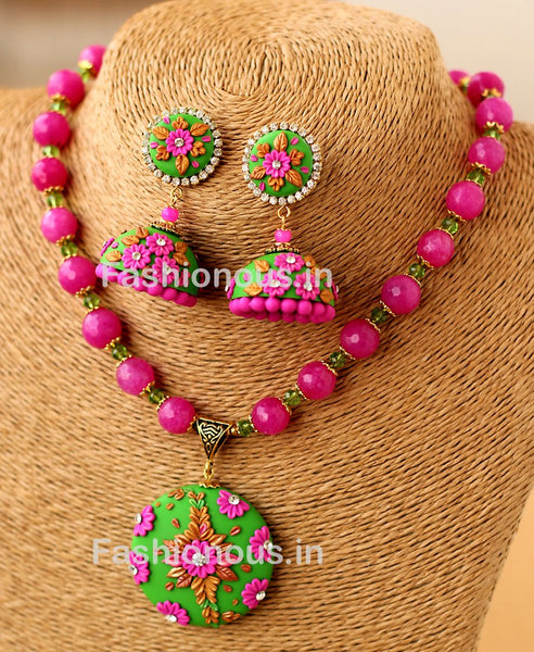 Green Pink Floral Pendant with Semi Precious Beads and Jhumkas-ZAPCNS-050