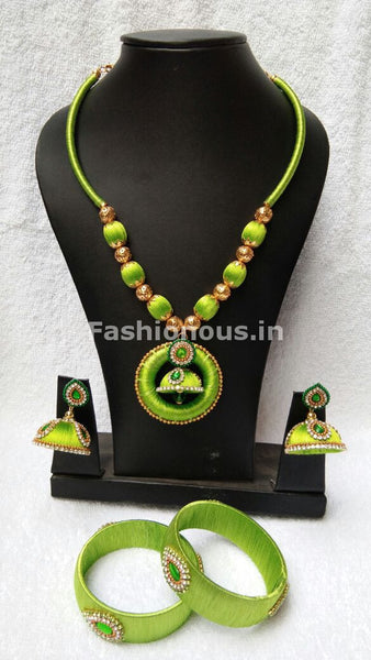 Green Round Pendant Silk Thread Jewellery Set-STJS-016