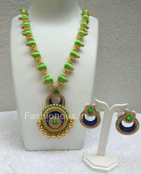 Green Silk Balls with Blue Chandbali Pendant Silk Thread Jewellery Set-STJS-031