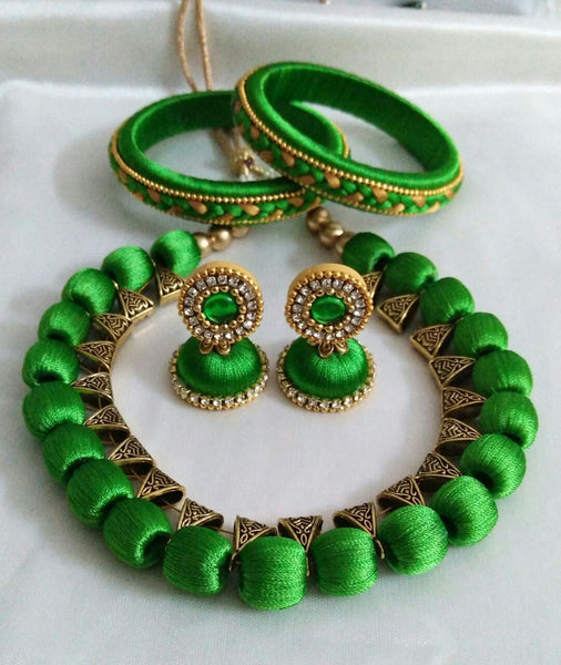 Green Silk Thread Jewellery Set