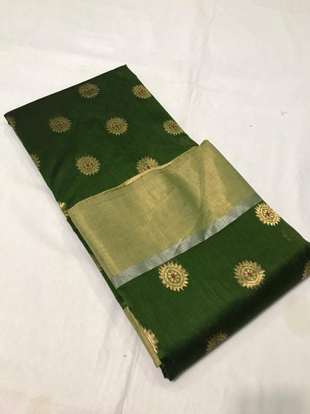 Green Silk and Cotton Chanderi Saree