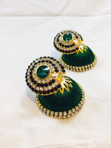 Green Stone Silk Thread Earrings
