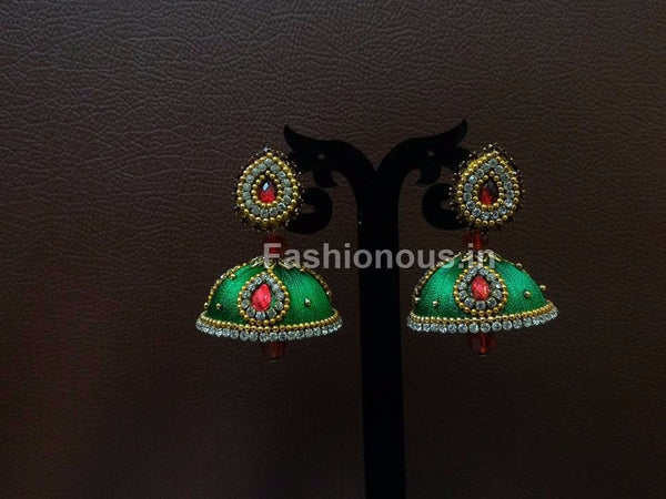 Green Stone Studded Silk Thread Jhumkas