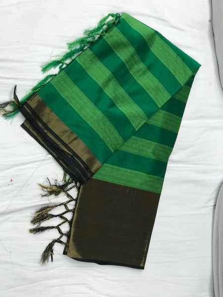 Green Striped with Tassel Pallu Silk Cotton Saree